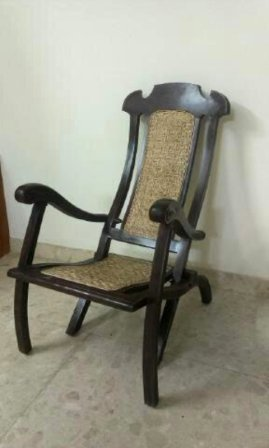Antique Furniture Rose Wood Folding Chair Cane Seat