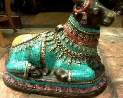 antique bronze stone decorated nandhi bull for sale