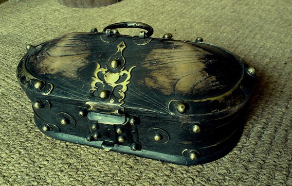 Kerala Traditional Antique box Called Tortoise Box With Beautiful Brass Fittings And made of Teak Wood