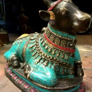 Antique Bronze With Stone Decorated Beautiful Holy Bull Nandhi Sitting For Sale 2