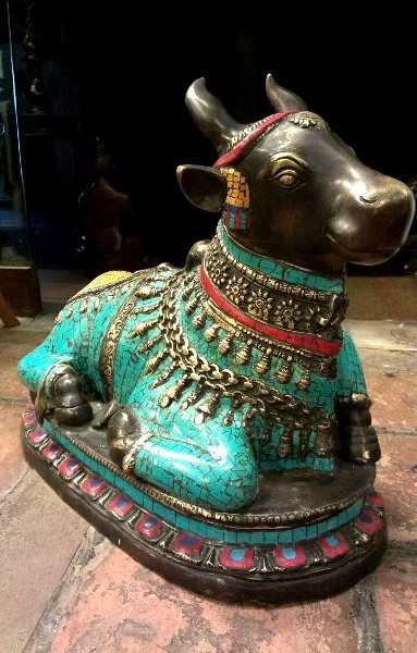 Antique Bronze With Stone Decorated Beautiful Holy Bull Nandhi Sitting For Sale