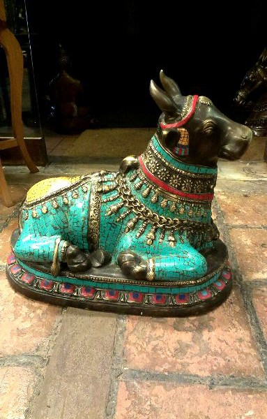 Antique Bronze With Stone Decorated Beautiful Holy Bull Nandhi Sitting For Sale 1