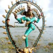 Antique Bronze Shiva Dancing Idol Nataraja Statue With decorative Stone Art Of India For Sale 2