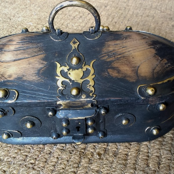 Kerala Traditional Antique box Called Tortoise Box With Beautiful Brass Fittings And made of Teak Wood 1