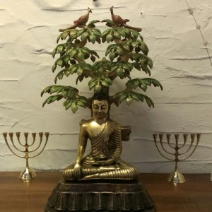 Beautiful Bronze Buddha Statue Sitting Under The Tree For Sale