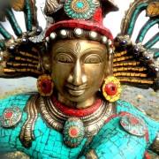 Antique Bronze Shiva Dancing Idol Nataraja Statue With decorative Stone Art Of India For Sale 3