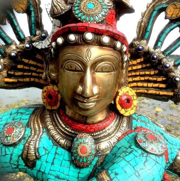 Antique Bronze Shiva Dancing Idol Nataraja Statue With decorative Stone Art Of India For Sale