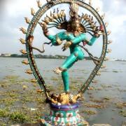 Antique Bronze Shiva Dancing Idol Nataraja Statue With decorative Stone Art Of India For Sale 6
