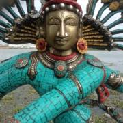Antique Bronze Shiva Dancing Idol Nataraja Statue With decorative Stone Art Of India For Sale 9