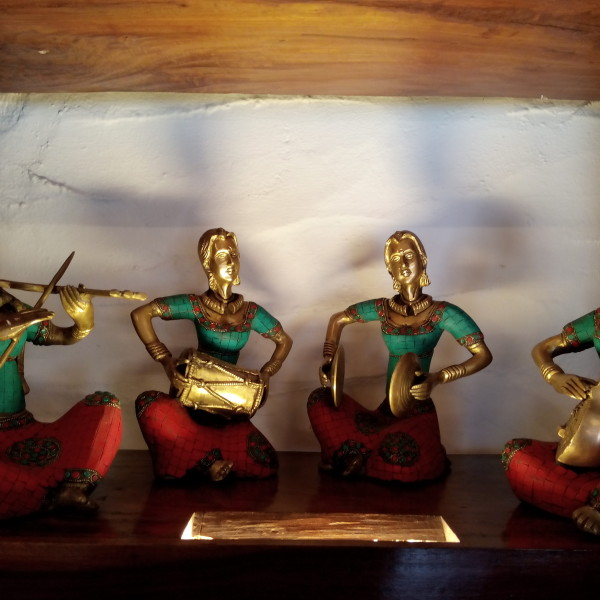 Antiques Stone Decorated Bronze Musical Ladies For Sale In India