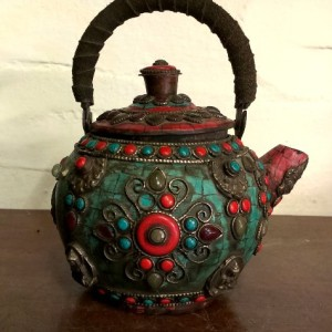 Antique Copper Decorative Pot With Stone Works For Sale In India