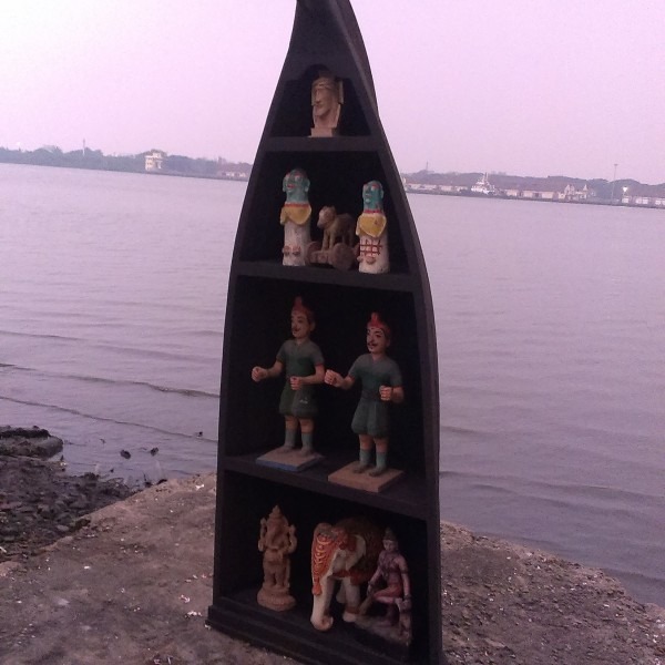 INVENTED SHOW CASE OUT OF ORIGINAL WOODEN BOATOF KERALA FOR SALE ONLINE